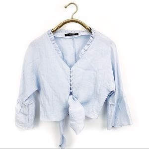 Zara collection blue linen front tie crop top